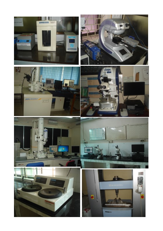 SEM, TEM, Contact angle measurement, Disk polisher, Optical microscope, Shimadzu tensile tester,